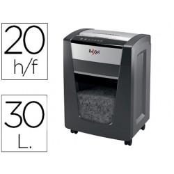 Destructora de documentos rexel momentum x420 capacidad de corte 20 hojas destruye grapas y clips papelera 30 l