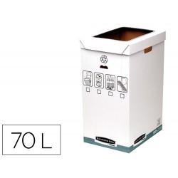 Contenedor papelera reciclaje fellowes sobremesa carton 100% reciclado montaje manual entrada frontal y tapa