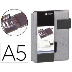Portanotas carchivo venture din a5 con soporte smartphone cuaderno color gris