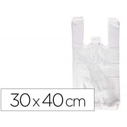 Bolsa camiseta reciclada 70% blanca 50 mc 30x40 cm apta legislacion de bolsas 2021