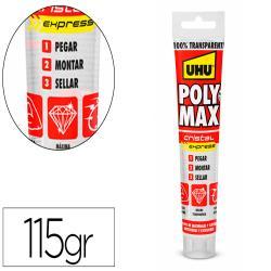 Adhesivo de montaje uhu poly max express cristal tubo de 115 gr
