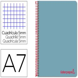 Cuaderno espiral liderpapel a7 micro wonder tapa plastico 100h 90 gr cuadro 5mm 4 bandas color celeste