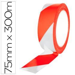 Cinta de señalizacion q-connect no adhesiva rojo y blanco 75 mm x 300 m