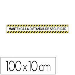 Cinta de señalizacion adhesiva apli mantenga la distancia 100 x 10 cm