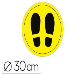 Circulo de señalizacion adhesivo apli para suelo pvc 100 mc pies color amarillo/negro diametro 30 cm