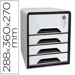 Fichero cajones de sobremesa cep smoove secure con cerradura 4 cajones color blanco/negro 288x360x270 mm