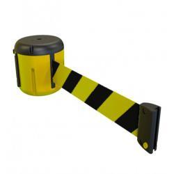 Cinta portatil faru retractil plastificada amarilla/negra longitud 9 mt