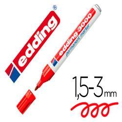 Rotulador edding marcador permanente 3000 rojo n.2 punta redonda 1,5-3 mm blister de 1 unidad