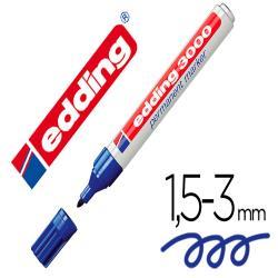 Rotulador edding marcador permanente 3000 azul n.3 punta redonda 1,5-3 mm blister de 1 unidad