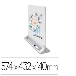 Pizarra blanca nobo cristal magnetica sobremesa doble caracon caballete imanes y rotulador 574x432x140 mm