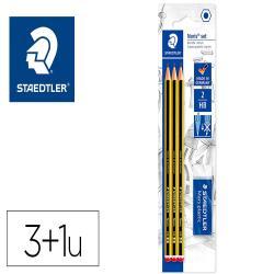 Lapices de grafito staedtler noris n 2 hb blister de 3 unidades + 1 goma de borrar mars plastic
