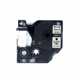 Compatible DYMO D1 45010 NEGRO TRANSPARENTE CINTA ROTULADORA