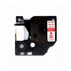 Compatible DYMO D1 45012 ROJO TRANSPARENTE CINTA ROTULADORA