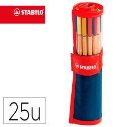 Rotulador stabilo punta de fibra point 88 art estuche rollerset de 25 unidades colores surtidos