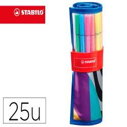 Rotulador stabilo punta de fibra pen 68 arty estuche rollerset de 25 unidades colores surtidos