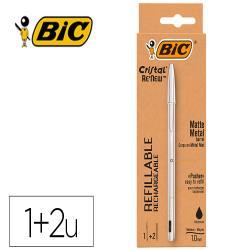 Boligrafo bic cristal renew tinta negra pack de 1 unidad + 2 recambios