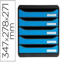 Fichero de cajones sobremesa exacompta big-box clean safe 5 cajones azul