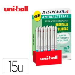 Boligrafo uni-ball jetstream sport sxe3-400 3 colores antibacteriano 1,0 mm expositor de 15 unidades