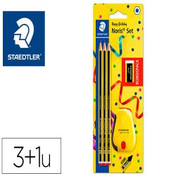 Lapices de grafito staedtler noris n.2 hb blister promocional 120 anivers de 3 uds + afilalapiz con deposito