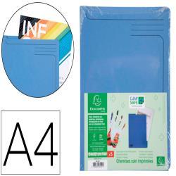 Carpeta dossier uñero exacompta clean safe cartulina 400 gr din a4 azul paquete de 5 unidades