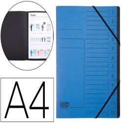 Carpeta exacompta clean safe clasificadora 12 departamentos din a4 con gomas carton azul