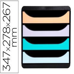 Fichero de cajones sobremesa exacompta big-box aquarel negro 4 cajones colores pastel glossy