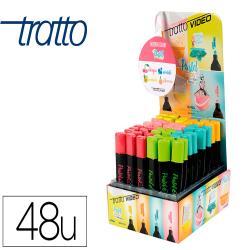 Rotulador tratto video pastel fluorescente expositor de 48 unidades colores surtidos