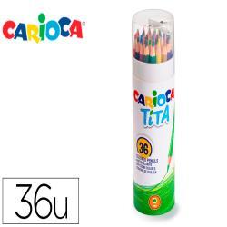 Lapices de colores carioca tita mina 3 mm tubo metal 36 colores