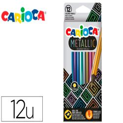 Lapices de colores carioca metallic hexagonal mina 3,3 mm caja