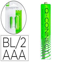 Pila q-connect alcalina aaa recargable blister de 2 unidades