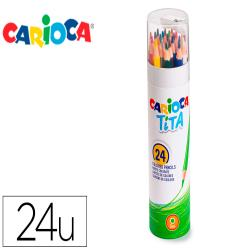 Lapices de colores carioca tita mina 3 mm tubo metal 24 colores