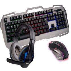 Set teclado y raton ngs pack gaming gbx-1500 con auricular estereo y microfono iluminacion led usb