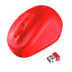 Raton trust primo inalambrico 1000/1600 dpi nano receptor usb 2,4 ghz color rojo