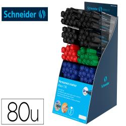 Rotulador schneider maxx 130 permanente punta redonda 1-3 mm reciclado 95% exp.80 unidades stdas. 218x315x168 mm