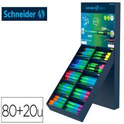 Boligrafo schneider slider caucho triangular 85% bioplastico exp. 80 unidades surtidas + 20 fluorescentes