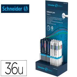 Boligrafo schneider take 4 reciclado 92% cuatro colores expositor de 36 unidades 160x100x305 mm
