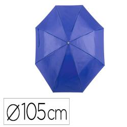 Paraguas de poliester 105 cm de diametro apertura manual cierre con velcro suave mango de madera azul marino