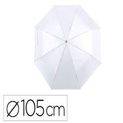 Paraguas de poliester 105 cm de diametro apertura manual cierre con velcro suave mango de madera blanco