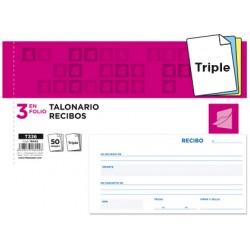 Talonario liderpapel recibos 3/fº apaisado original y 2 copias