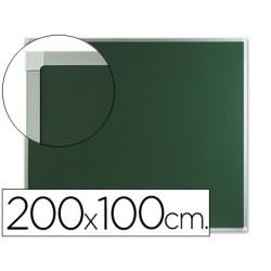 Pizarra verde mural q-connect 200x100 cm sin repisa con marco