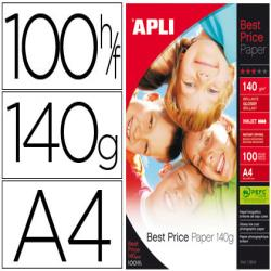 Papel fotografico apli glossy din a4 pack de 100 hojas 140 gr
