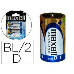 Pila maxell alcalina 1.5v tipo d lr20 blister de 2 unidades
