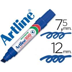 Rotulador artline marcador permanente 100 azul -punta biselada
