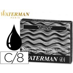 Tinta estilografica waterman negra -caja de 8 cartuchos