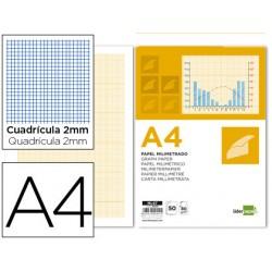 Bloc papel milimetrado liderpapel encolado 210x297mm 50 hojas