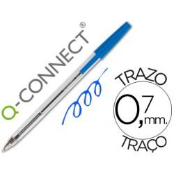 Boligrafo transparente q-connect azul medio kf26039