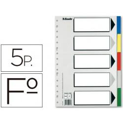 Separador esselte plastico juego de 5 separadores folio con 5