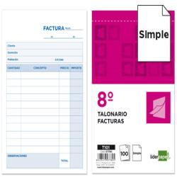 Talonario liderpapel facturas octavo -sin iva- 101 7780-T101