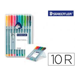 Rotulador staedtler triplus fineliner estuche 10 colores