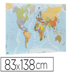 Mapa mural faibo planisferio plastificado enrollado 83x138 cm